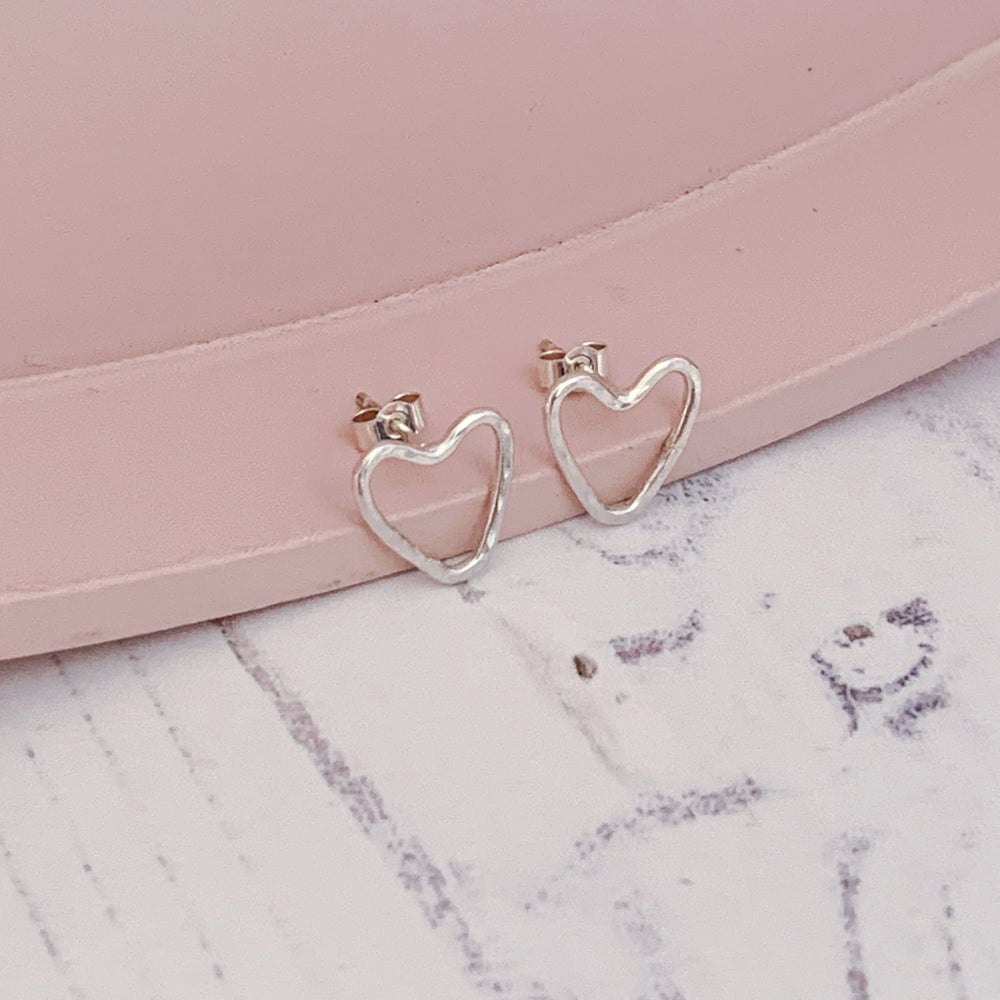 Image of Heart outline stud earrings