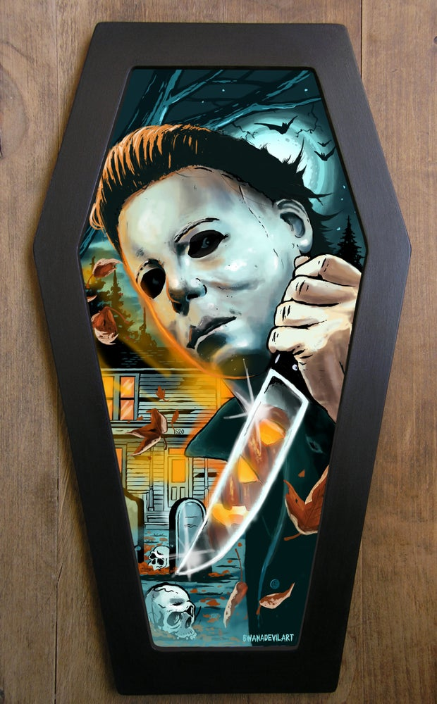Image of LIMITED EDITION Halloween (Michael Myers) Coffin framed art