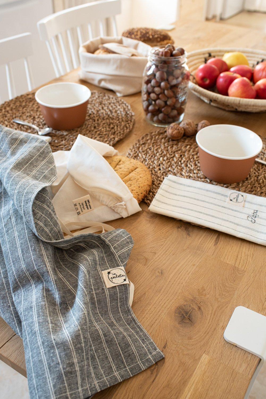Image of Torchon en chanvre et coton gris, rayures écrues