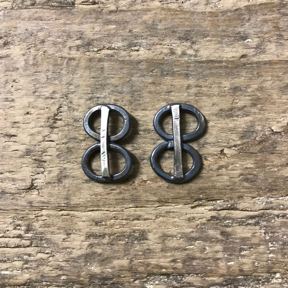 Image of modernist stacked oval studs - small blackened statement earrings - unusual oval earrings