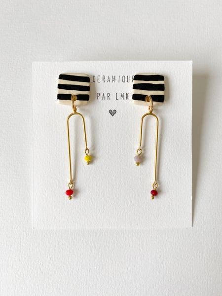 Image of Paire de boucles d'oreilles céramique et plaqué or RAYAPER ****