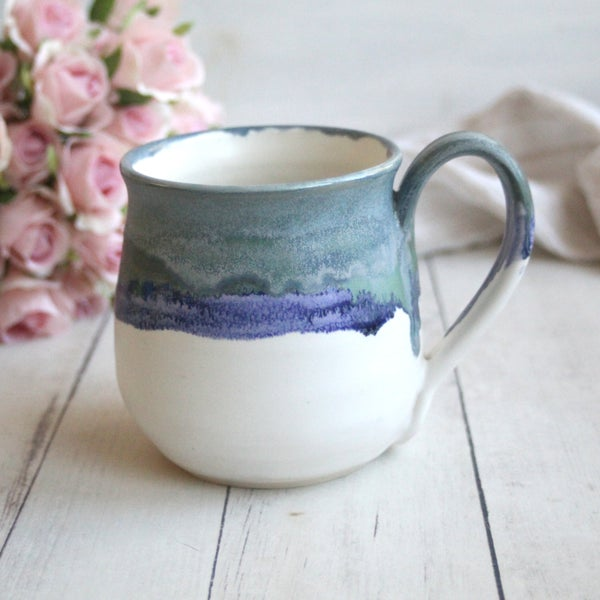 Image of Pottery Mug in Blue, Purple and White Matte Glazes, Handcrafted Coffee Cup 19 oz, Made in USA