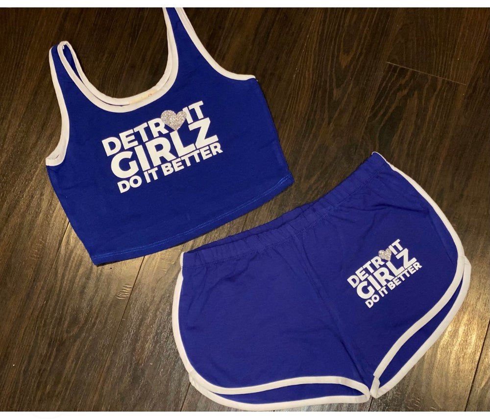 Image of Royal Blue Crop top and Short Set