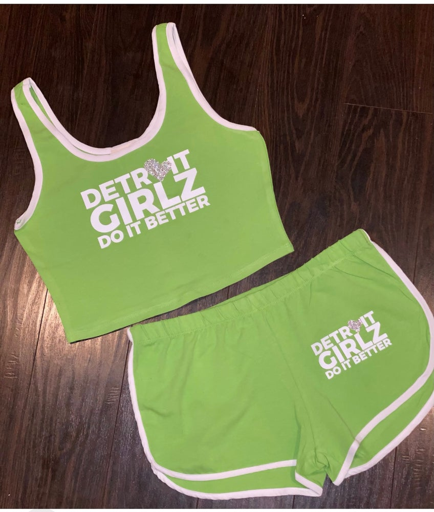 Image of Lime Green Crop Top and Short Set
