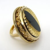 Image of Cat Eye Spy- Vintage Glass Cocktail Ring- Gold