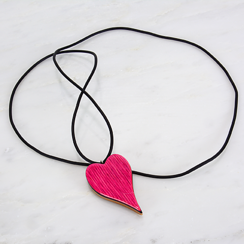 Image of Pink and Red Heart interchangeable necklace pendant, Wooden Heart Charm, Minimalist, Unique Gift