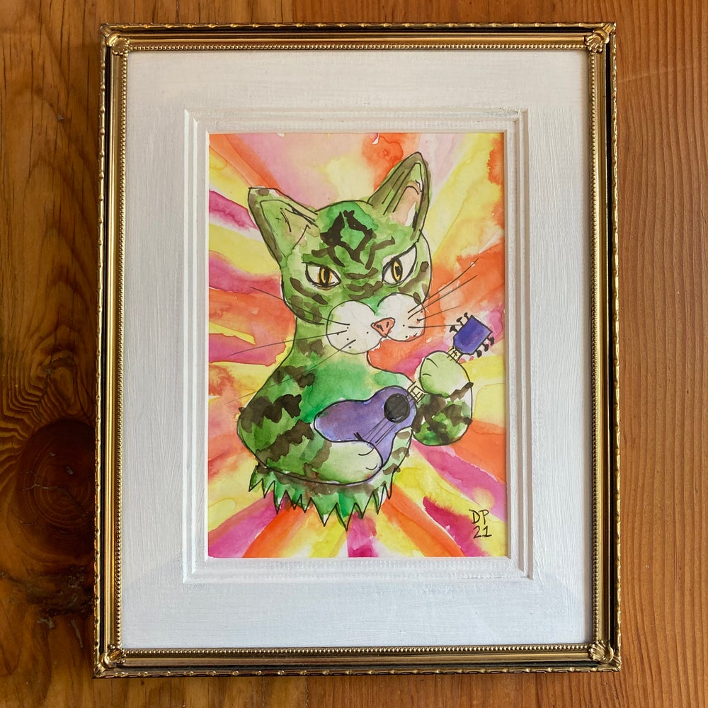 Image of Green Cat Strummer painting with MINI GREEN CAT STRUMMER PAINTING