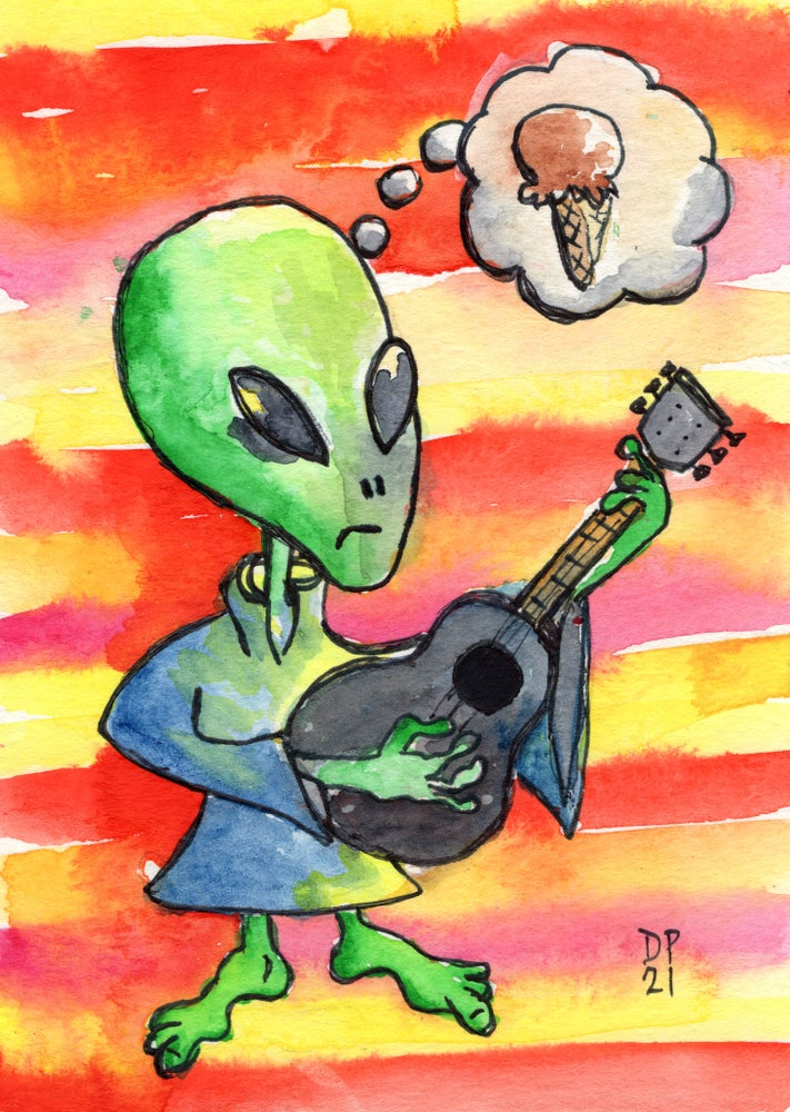 Image of Alien Ice Cream Strummer with MINI ALIEN ICE CREAM STRUMMER