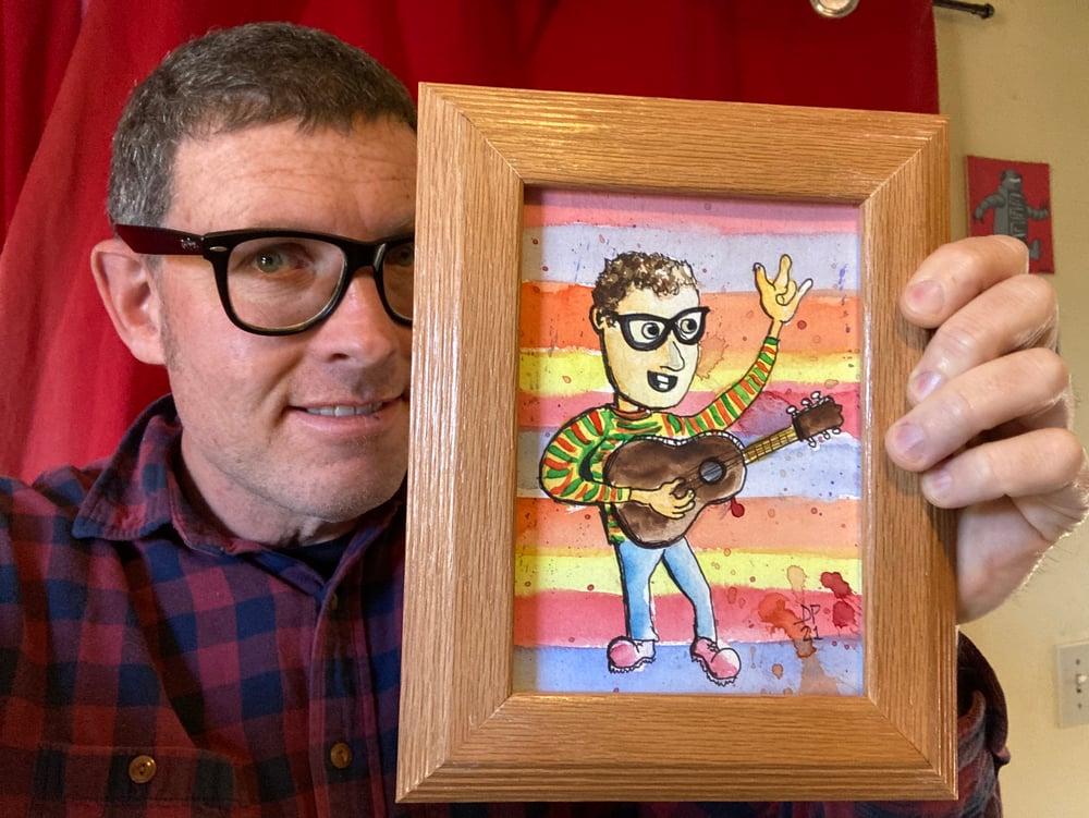 Image of Yellow Green Orange Sweater original watercolor painting by Dan P.