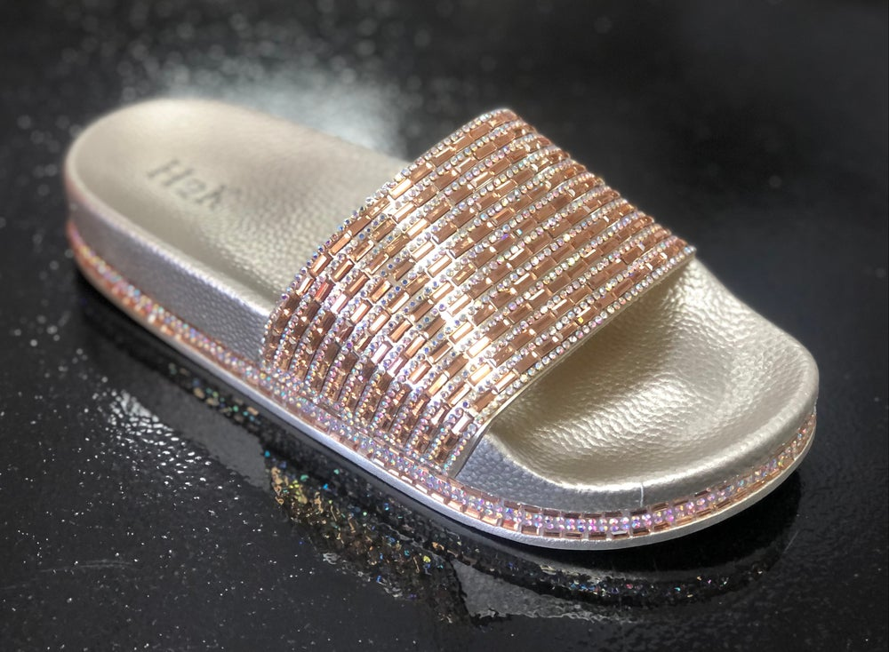"""Image of #A3 GOLD  """"BLINGED OUT"""" SLIDES"""