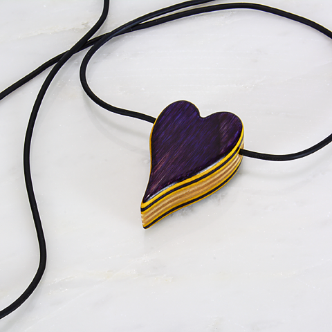 Image of Purple Heart With Yellow Accents Wooden Necklace, Wood Charm Pendant, Minimalist Jewelry