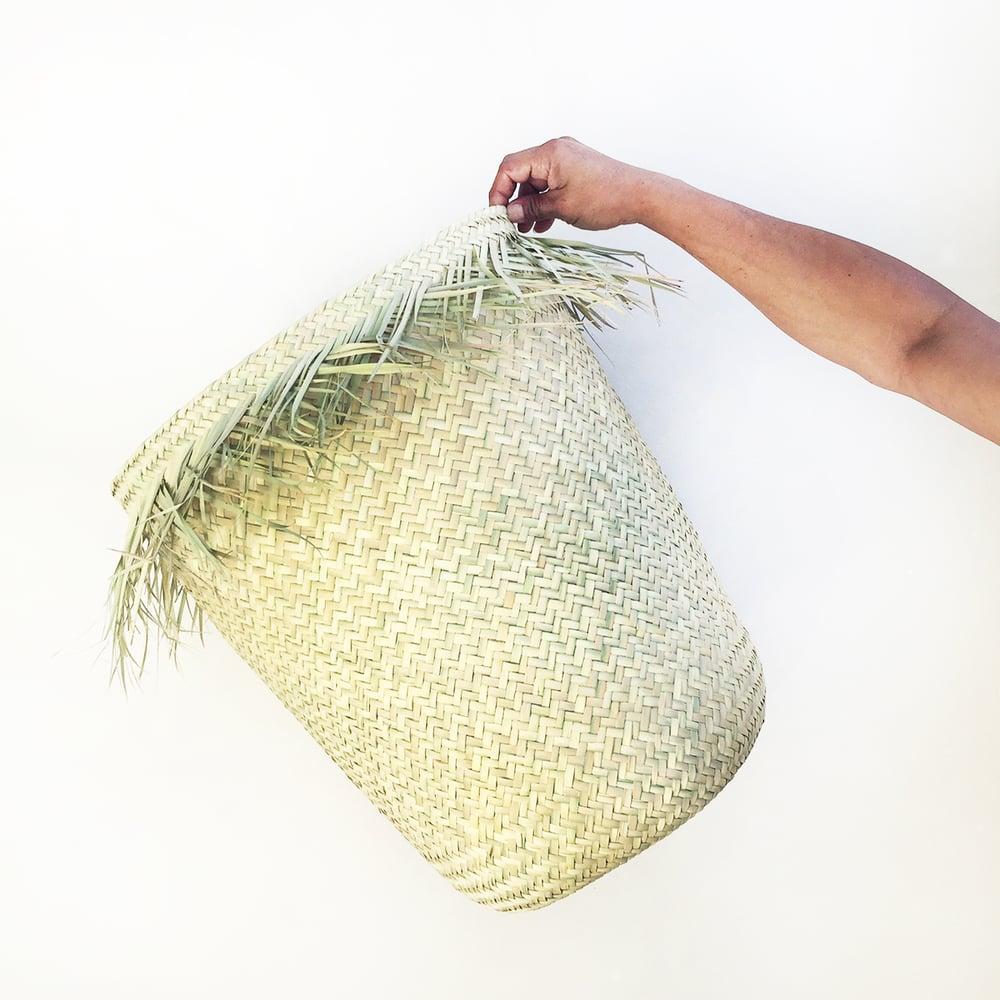 Image of Handwoven Palm Fringe Baskets