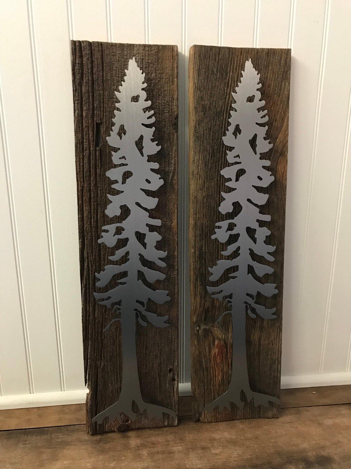 Set of Pine Trees on Barn Wood
