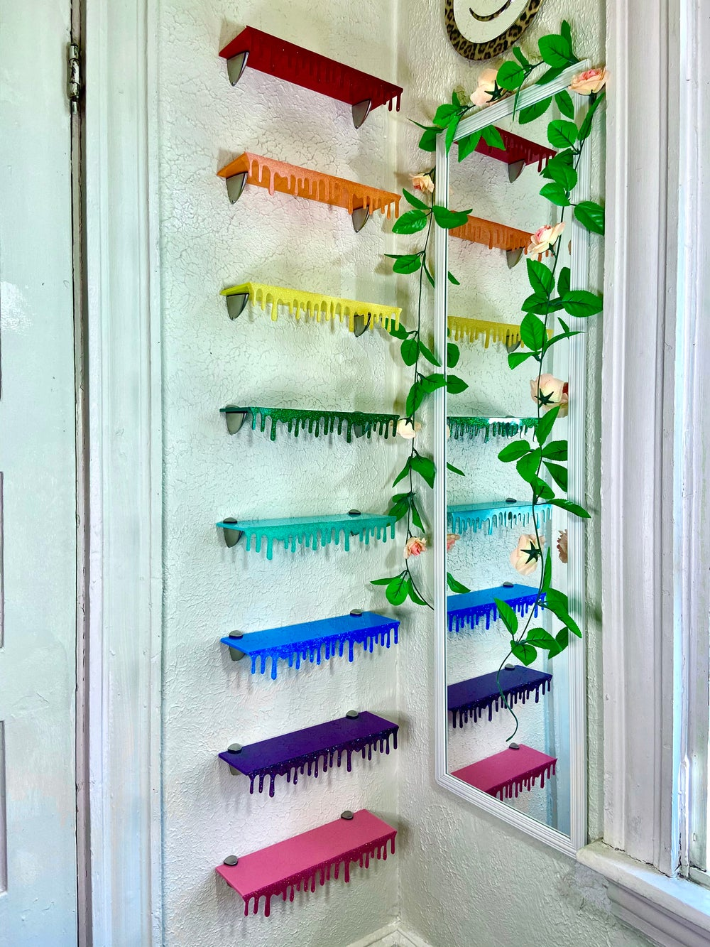 COMPLETE OPAQUE RAINBOW SET OF 8 SHELVES (includes brackets)