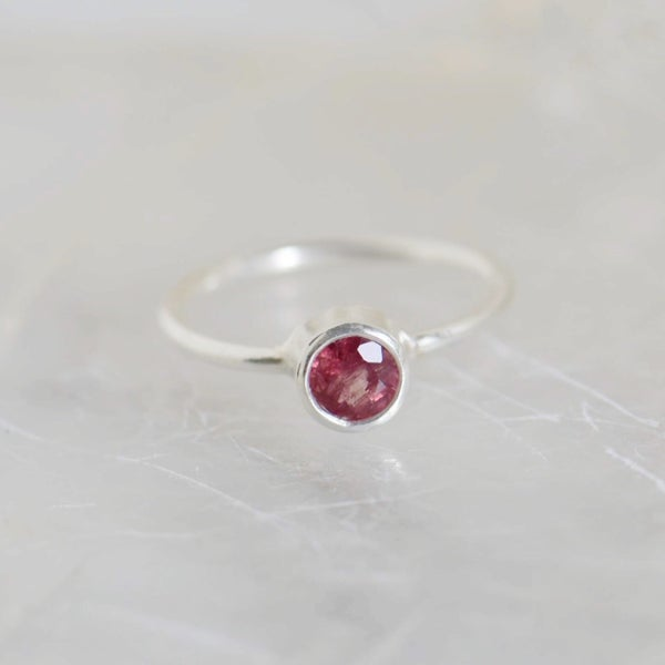 Image of Natural Pink Tourmaline round cut silver ring