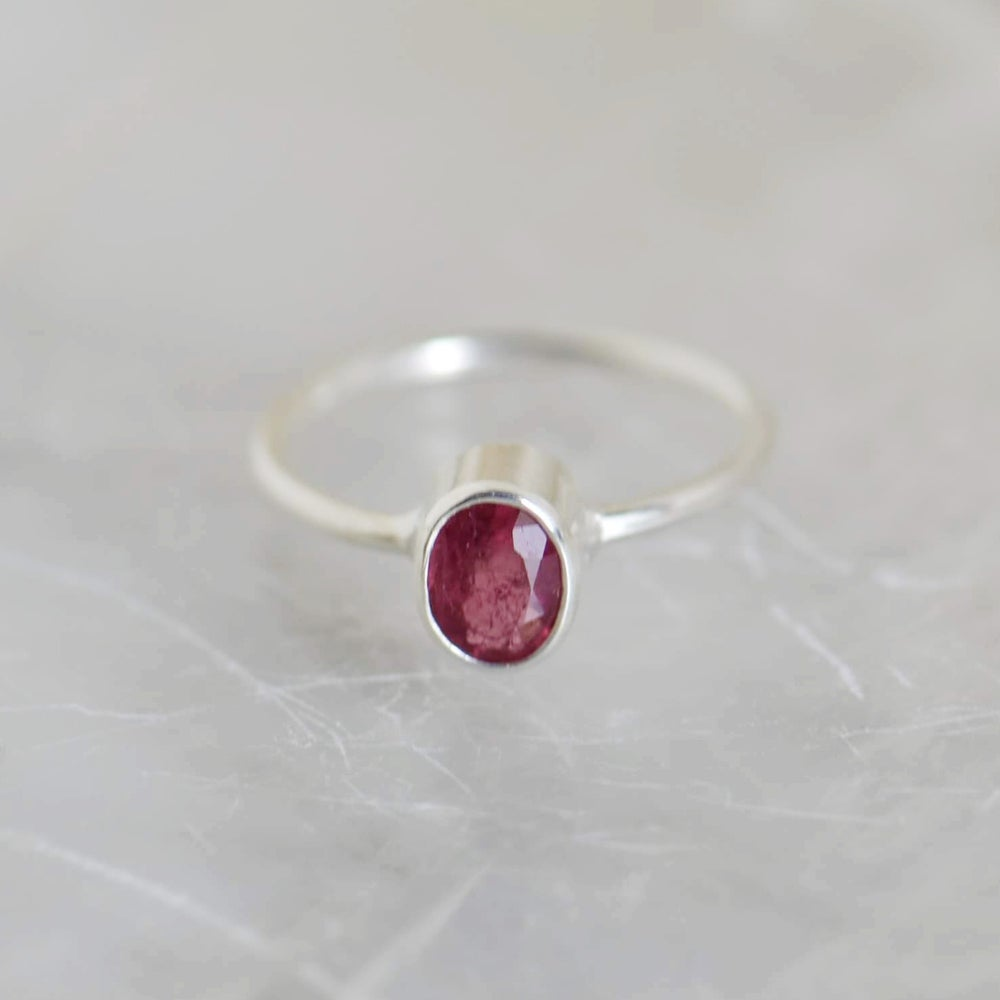 Image of Natural Pink Tourmaline oval cut silver ring