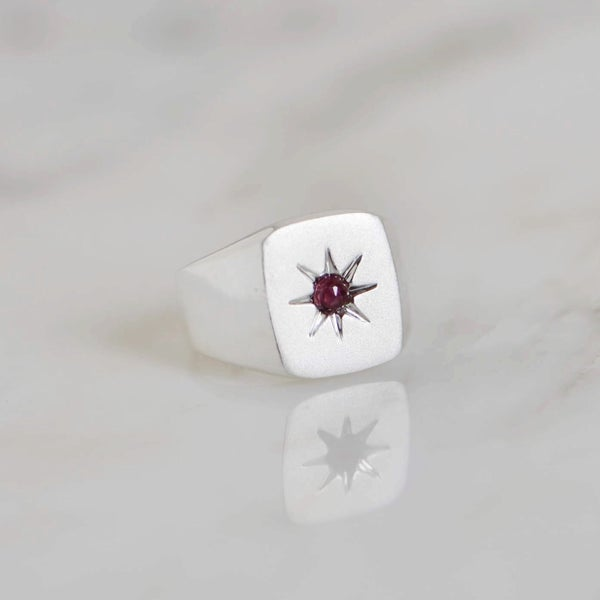 Image of 'Red Star' x Red Garnet rose cut solid frame silver ring