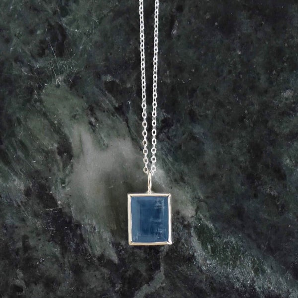 Image of Natural Deep Blue Aquamarine rectangular cut silver necklace