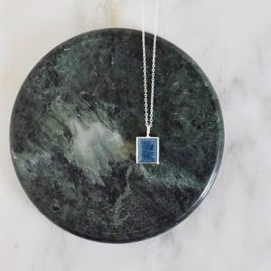 Image of Natural Deep Blue Aquamarine rectangular cut silver necklace