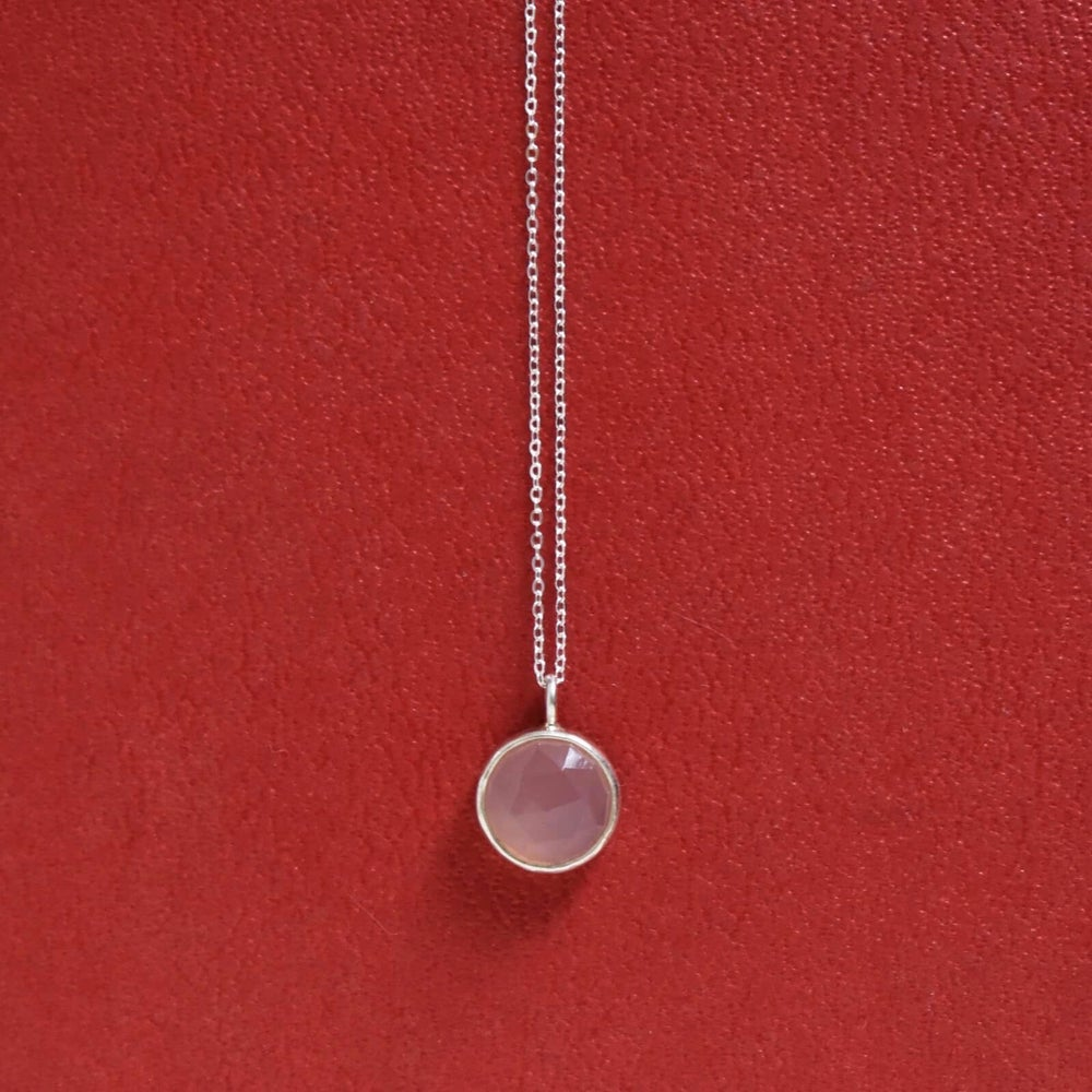 Image of Pink Chalcedony rose cut silver necklace