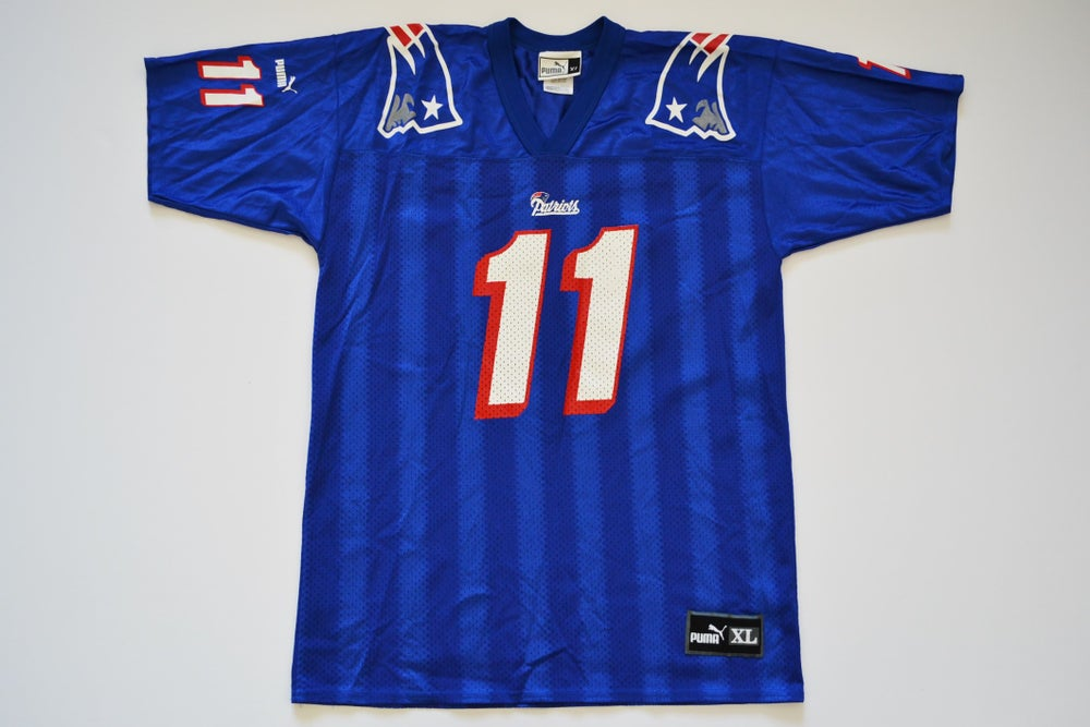 Image of Vintage 1990's New England Patriots Drew Bledsoe Puma Jersey Sz.XL (Youth)