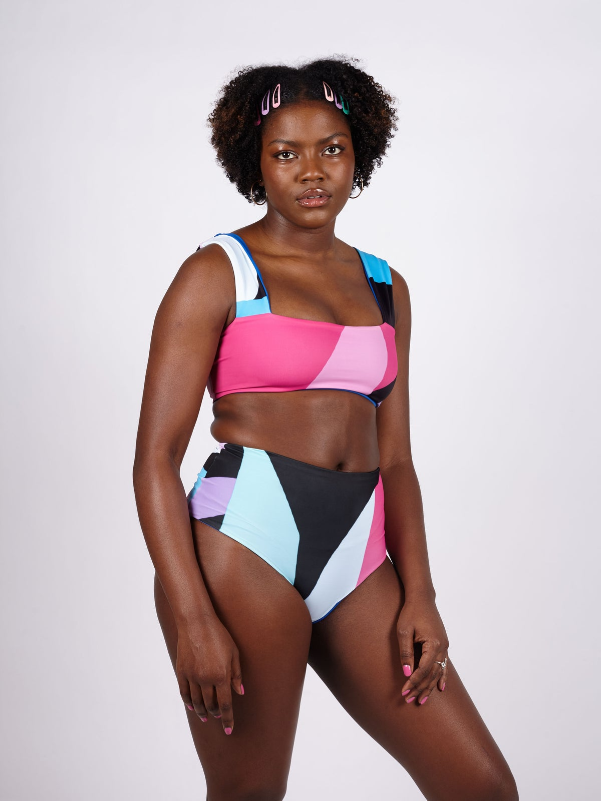 Image of ALINA Reversible Thick Strap Crop Top - Berry Print