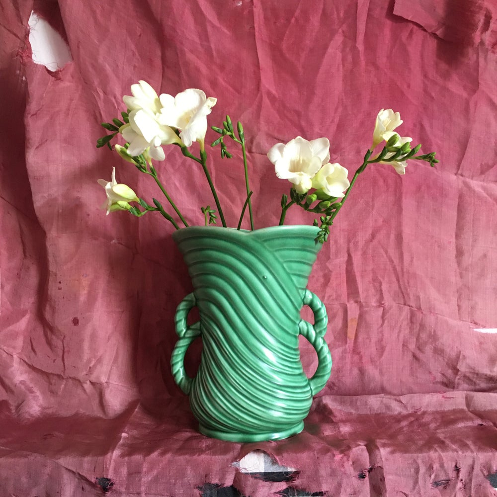 Image of Green rope handled vase