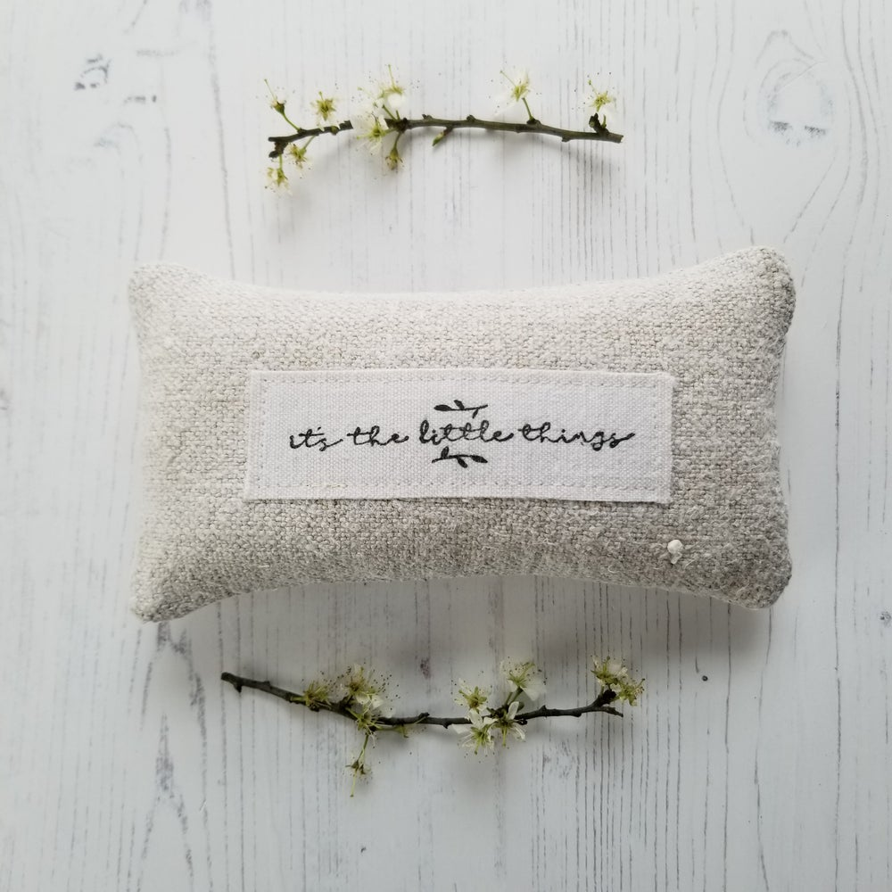 Image of 'It's the little things' Lavender Grain sack Pillow
