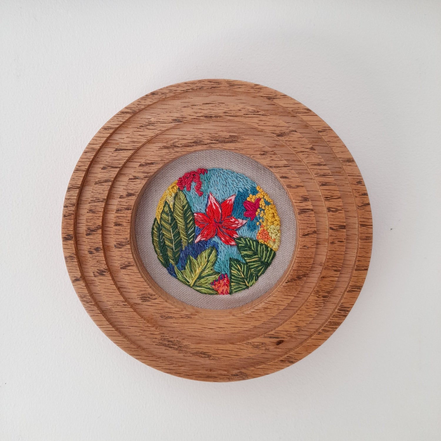Image of Jungle Hand Stitched Art In Oak Frame