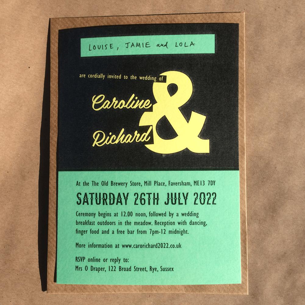 """Image of A6 Wedding invites, """"Caroline"""" Design, matte card"""