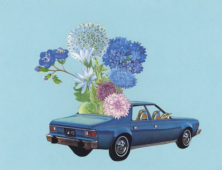 Image of Driving them blues away. Limited edition collage print.