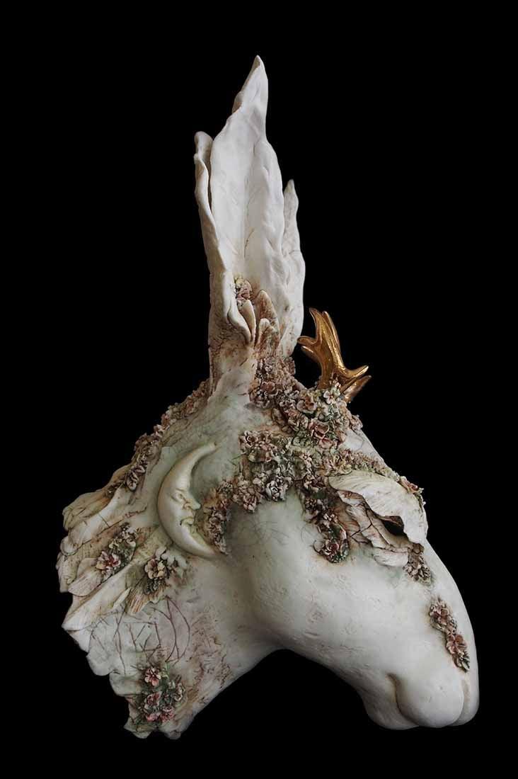 Image of JENNIE McCALL - 'SELENE' - UNIQUE PORCELAIN HARE SCULPTURE