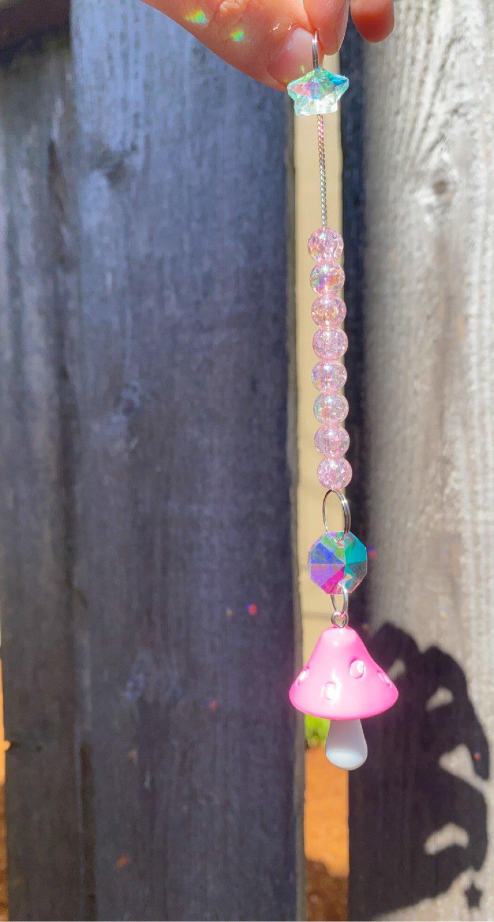 Image of pink mushroom hanging decor 🌞🌈✨