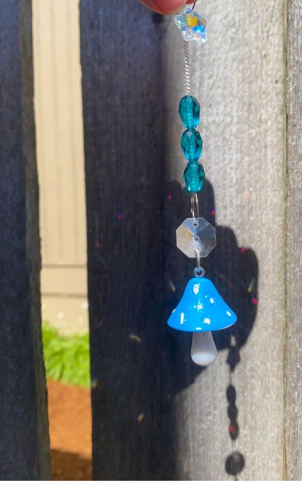 Image of blue mushroom hanging decor 🌞🌈✨