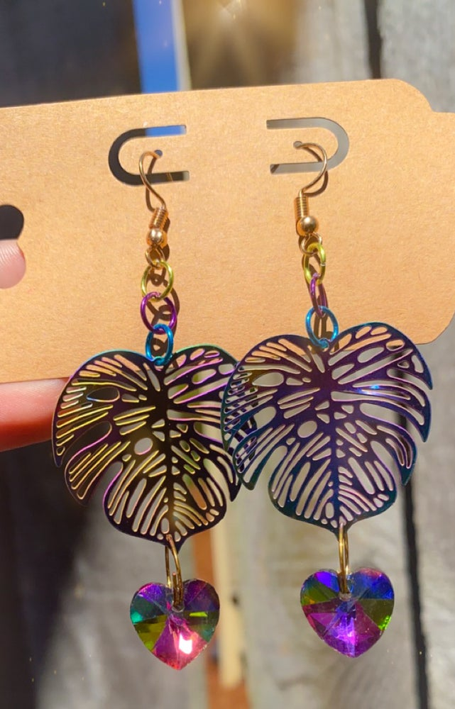Image of rainbow monstera leaf earrings 🌈🍃