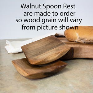 Image of Walnut Wooden Spoon Rest, Wood Spoon Holder, County Kitchen Ladle Holder, Unique Housewarming Gift