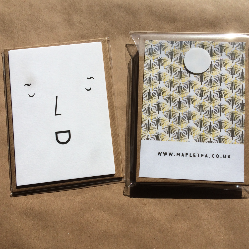 Image of Set of six notecards, A7 size with envelopes - type face design