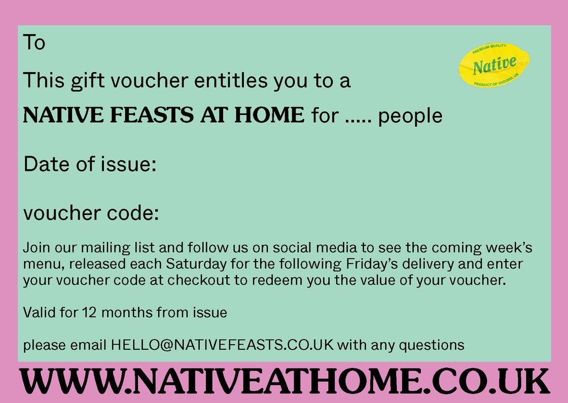 Image of NATIVE - Feasts At Home - GIFT VOUCHER