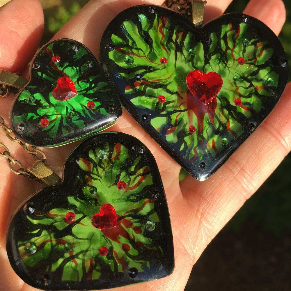 Poison Ivy Resin Heart Pendant