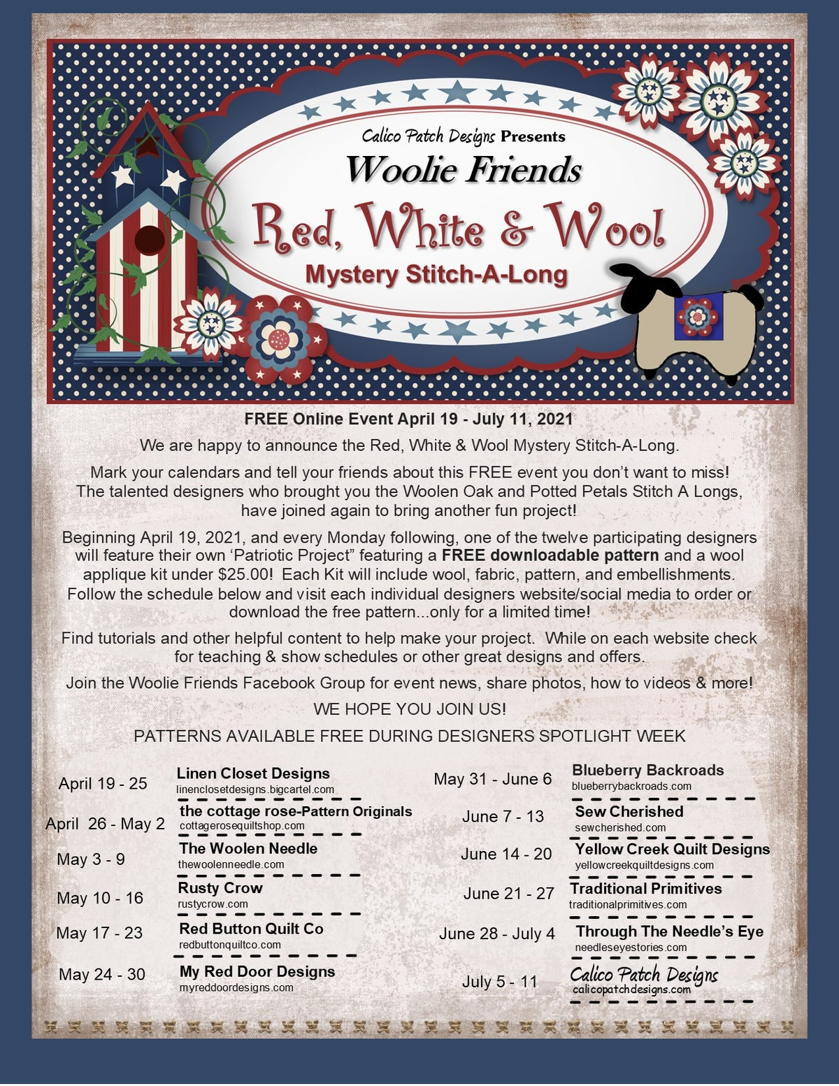 Red White and Wool Sew Along- Uncle Sam