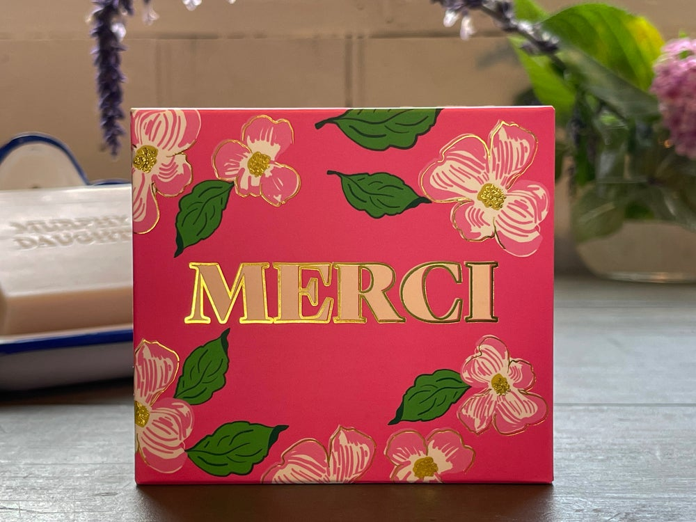 Image of Message on a Soap MERCI Rose