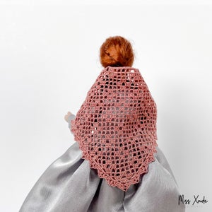 Filet Crochet Shawl for 1:12 scale doll - various colors