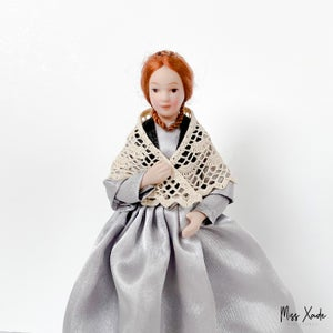 Lace crochet shawl for 1:12 scale doll