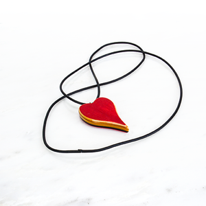 Image of Pink and Red Heart Reversible Wooden Necklace, Wood Charm Pendant, Minimalist Jewelry, Unique Gift