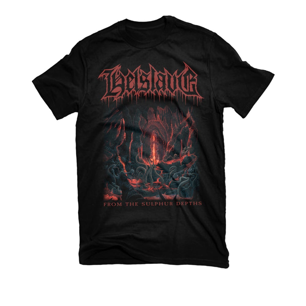 """Image of HELSLAVE """"FROM THE SULPHUR DEPTHS"""" T-SHIRT"""