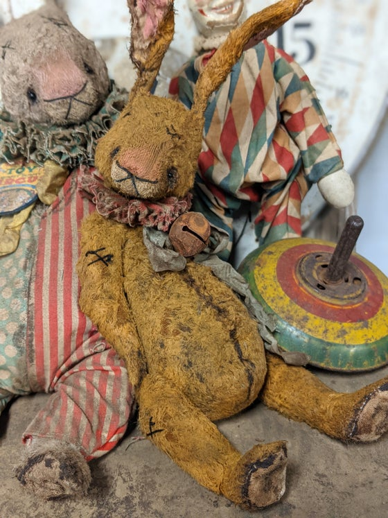 "Image of 11"" Old ToY frumpy Primitive Rabbit by Whendi's Bears"