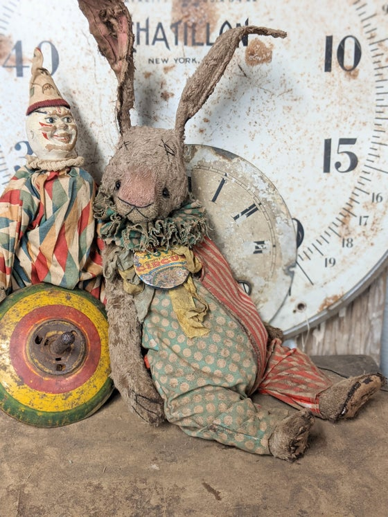"Image of 14"" Schoenhut Toy Circus Rabbit in romper by Whendi's Bears"