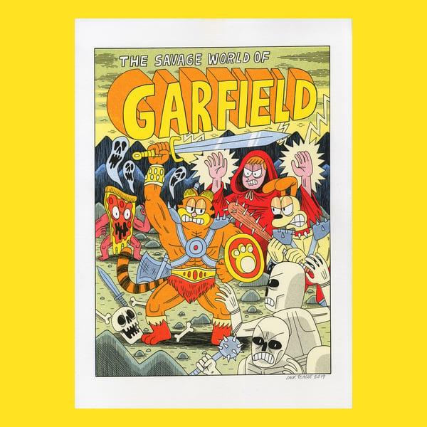 Image of Savage Garfield - A3 risograph print