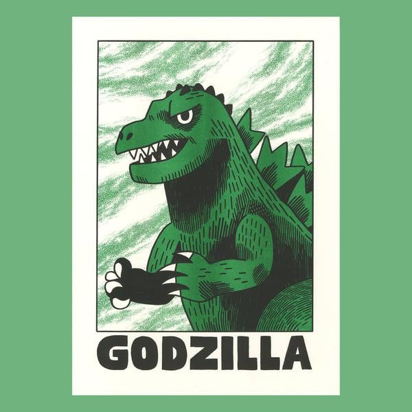 Image of Godzilla - A3 Risograph Print
