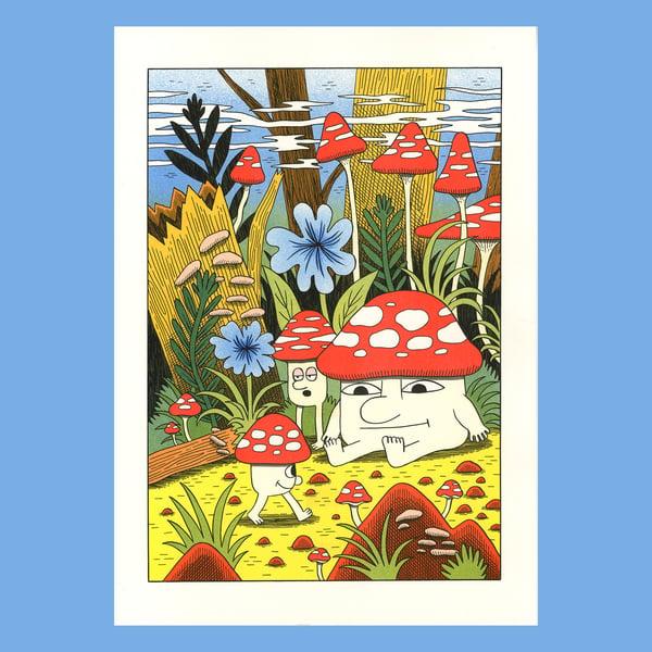 Image of Mushroom World - A3 risograph print